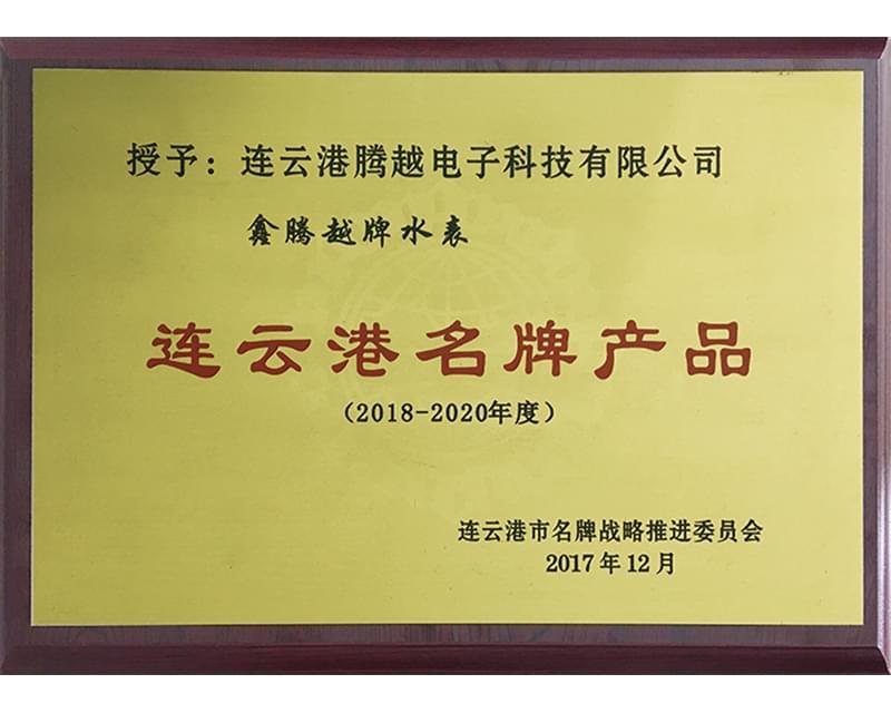 腾越科技水表入选连云港名牌产品